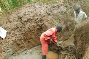The Water Project: Hirumbi Community, Khalembi Spring -  Diverting Water