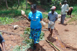 The Water Project: Shamakhokho Community, Imbai Spring -  Community Members Delivering Stones For Construction