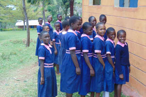 The Water Project: Kapkoi Primary School -  Girls Waiting To Use Latrines