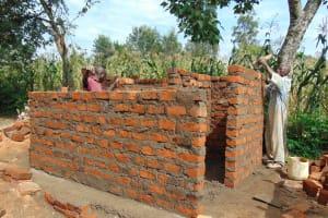 The Water Project: Mukangu Primary School -  Latrine Walls Take Shape