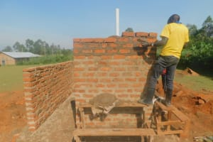 The Water Project: Shinyikha Primary School -  Latrine Walls Going Up