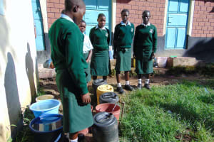 The Water Project: Friends Kuvasali Secondary School -  Students Collecting Water At A Standpipe