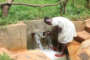 The Water Project: Mushina Community, Shikuku Spring -  Enjoying The Spring Water