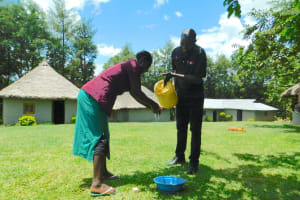 The Water Project: Bung'onye Community, Shilangu Spring -  Handwashing Practice