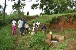The Water Project: Mungakha Community, Nyanje Spring -  Busy Nyanje Spring