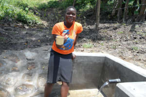 The Water Project: Bung'onye Community, Shilangu Spring -  Fresh Drink From The Spring