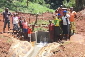 The Water Project: Mushina Community, Shikuku Spring -  Community Members Celebrate The Well