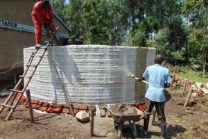 The Water Project: Ematiha Secondary School -  Tank Walls Going Up