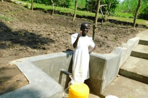 The Water Project: Bung'onye Community, Shilangu Spring -  Thumbs Up For Running Water