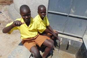 The Water Project: St. Margret Wadin'go Primary School -  Boys At The Rain Tank