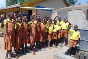 The Water Project: St. Margret Wadin'go Primary School -  Students Celebrate The Tank