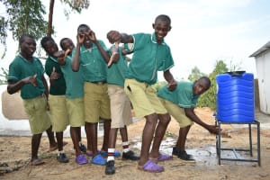 The Water Project: Elufafwa Community School -  Boys Lining Up To Wash Hands
