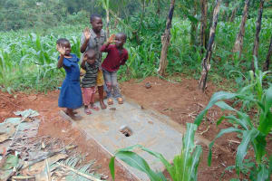 The Water Project: Shamakhokho Community, Imbai Spring -  Kids With Their Familys New Sanitation Platform