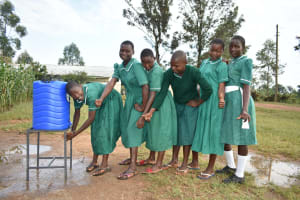 The Water Project: Elufafwa Community School -  Girls Lining Up To Wash Hands