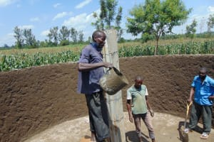The Water Project: St. Margret Wadin'go Primary School -  Filling Center Pillar With Concrete