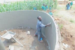The Water Project: Elufafwa Community School -  Plastering Inside Of Tank