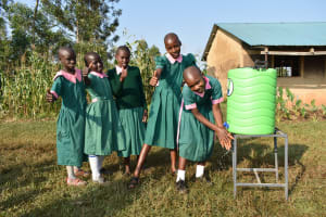 The Water Project: Shinyikha Primary School -  Girls Lining Up To Wash Hands
