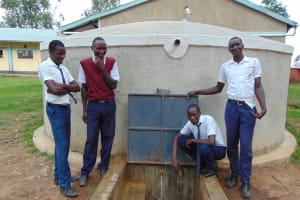 The Water Project: Ematiha Secondary School -  Students Pose With The Rain Tank