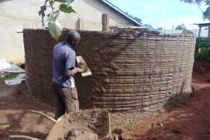 The Water Project: Womulalu Special School -  Cementing Tank Walls
