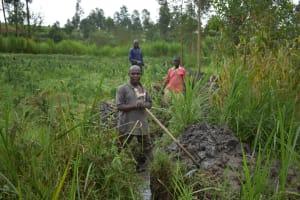 The Water Project: Sichinji Community, Kubai Spring -  Digging Drainage System
