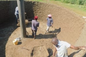 The Water Project: Shinyikha Primary School -  Cementing Interior Of Tank