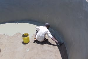 The Water Project: Goibei Primary School -  Plastering Inside Of Tank