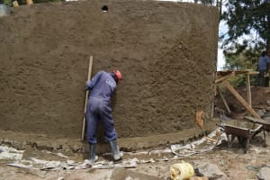 The Water Project: Kiundwani Secondary School -  Cement Work On The Tank Wall