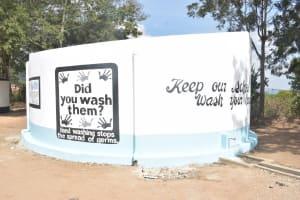 The Water Project: Kiundwani Secondary School -  Painted Tank