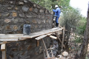 The Water Project: Kiundwani Secondary School -  Working On The Tank Walls
