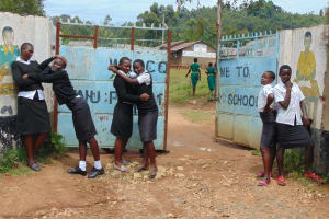 The Water Project: Kinu Friends Secondary School -  Students Pose At The School Gate