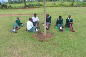 The Water Project: Sawawa Secondary School -  Students Taking Lunch
