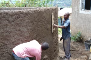 The Water Project: Gimariani Secondary School -  Rain Tank Wall Cementing Continues