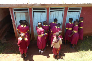 The Water Project: Givudemesi Primary School -  Girls In Line For The Latrines