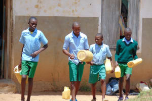 The Water Project: St. Kizito Kimarani Primary School -  Students Head Home For Lunch And To Collect More Water
