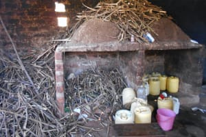 The Water Project: Givudemesi Primary School -  Water And Firewood Storage In The Kitchen