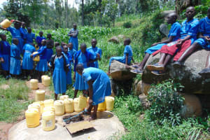The Water Project: Lwombei Primary School -  Students Collecting Water
