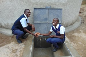 The Water Project: Gimariani Secondary School -  Students At The Rain Tanks Tap