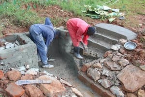 The Water Project: Shisere Community, Richard Okanga Spring -  Cementing The Stairs And Walls