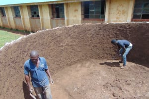 The Water Project: Sikhendu Primary School -  Building Up Tank Walls