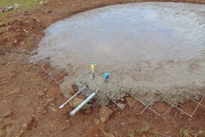 The Water Project: Sikhendu Primary School -  Cement At Base Of Tank