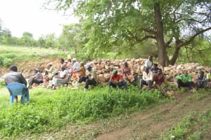 The Water Project: Mbitini Community -  Shg Members Gathered Near The Site Of The Proposed Project
