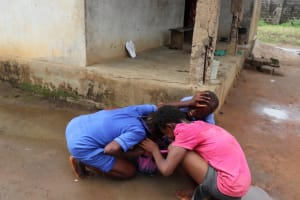 The Water Project: Lungi, New London, #10 Dankama Street -  Kids Fighting To Drink In One Container