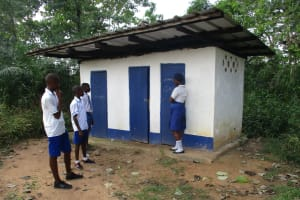 The Water Project: Lungi, Madina, St. Mary's Junior Secondary School -  Students Waiting To Use Latrine