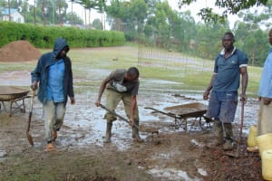 The Water Project: Banja Primary School -  Artisans Working In The Rain