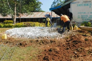 The Water Project: Shichinji Primary School -  Mixing Concrete