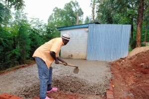 The Water Project: Ebulonga Mixed Secondary School -  Laying Concrete Slab For Latrines