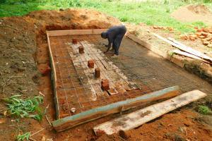 The Water Project: Kapkures Primary School -  Latrine Foundation Construction