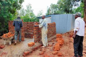 The Water Project: Ebulonga Mixed Secondary School -  Latrine Walls Going Up Brick By Brick