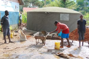 The Water Project: Banja Primary School -  Students Help Mix Cement