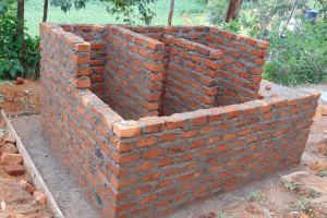 The Water Project: Banja Primary School -  Latrine Walls And Stalls Take Shape
